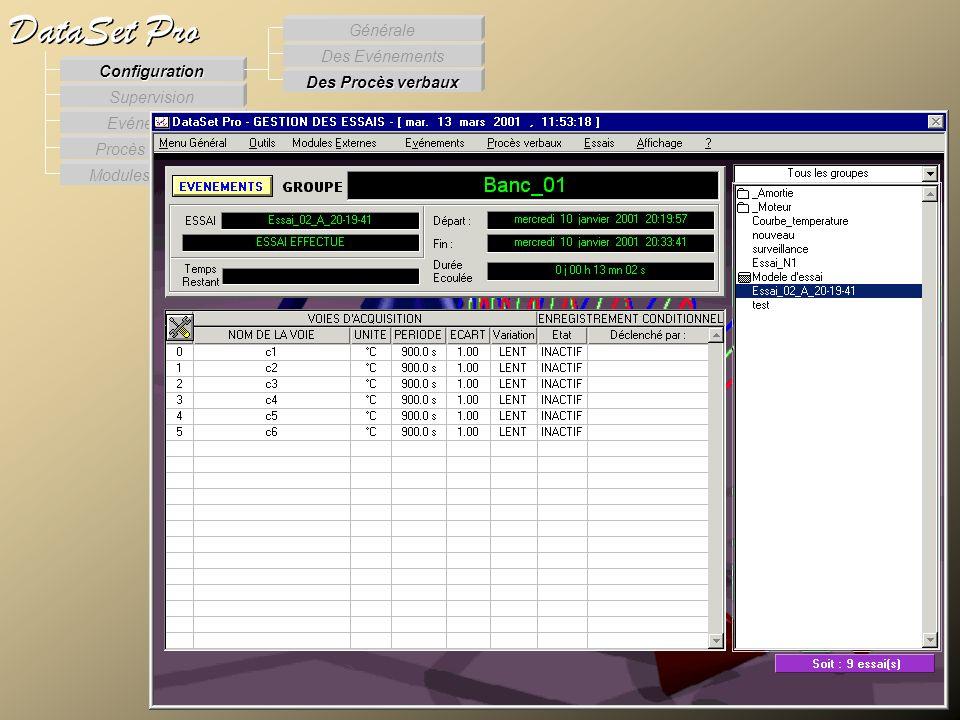 Modules externes Procès Verbaux Evénements Supervision DataSet Pro Configuration Des Procès verbaux Des Evénements Générale Supervision