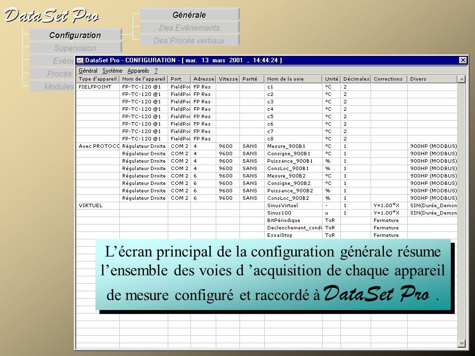 Modules externes Procès Verbaux Evénements Supervision DataSet Pro Configuration Des Procès verbaux Des Evénements Générale Lécran principal de la con