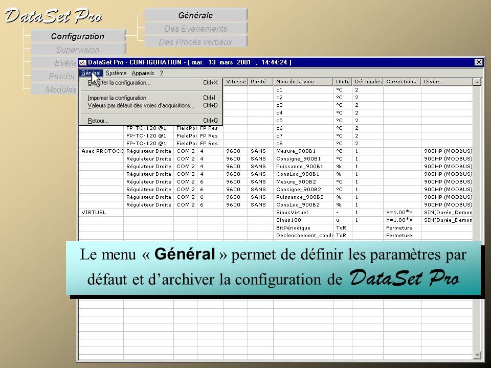 Modules externes Procès Verbaux Evénements Supervision DataSet Pro Configuration Des Procès verbaux Des Evénements Générale Le menu « Général » permet
