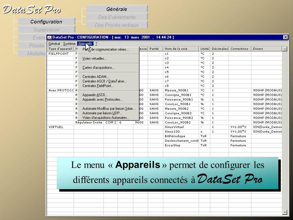 Modules externes Procès Verbaux Evénements Supervision DataSet Pro Configuration Des Procès verbaux Des Evénements Générale Le menu « Appareils » perm