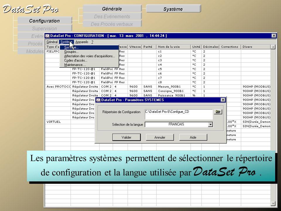 Modules externes Procès Verbaux Evénements Supervision DataSet Pro Configuration Des Procès verbaux Des Evénements Générale Système Les paramètres sys