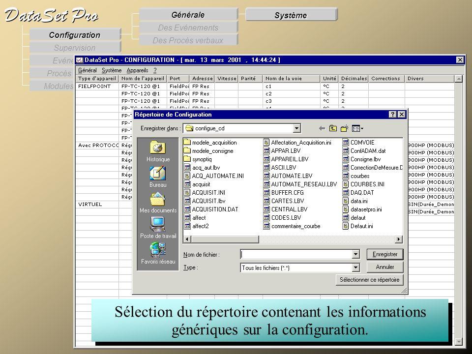 Modules externes Procès Verbaux Evénements Supervision DataSet Pro Configuration Des Procès verbaux Des Evénements Générale Système Sélection du réper