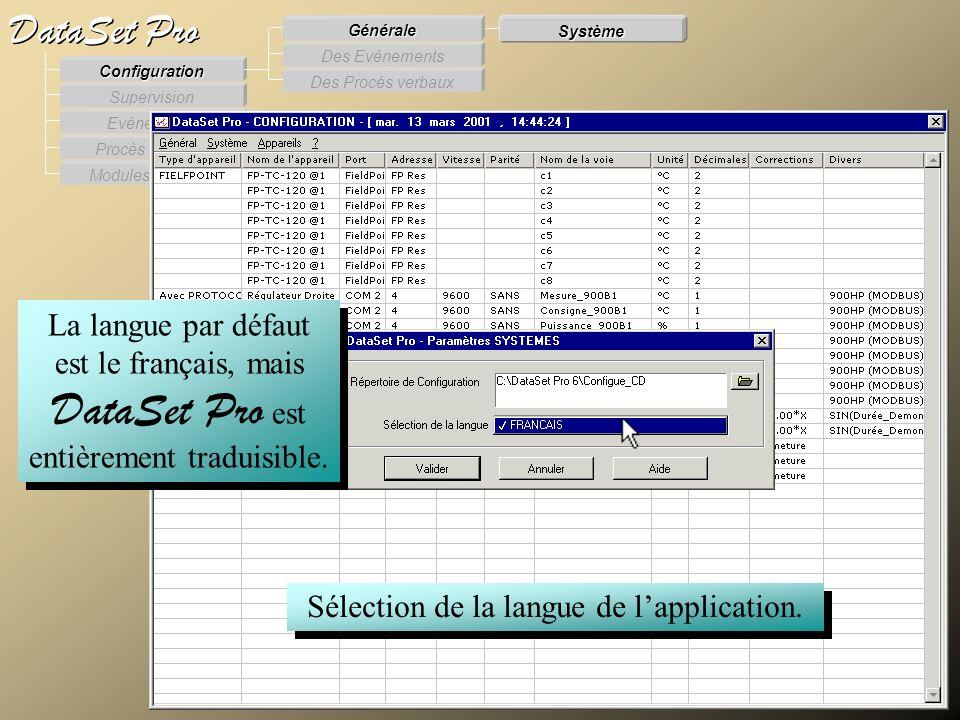 Modules externes Procès Verbaux Evénements Supervision DataSet Pro Configuration Des Procès verbaux Des Evénements Générale Système Sélection de la la