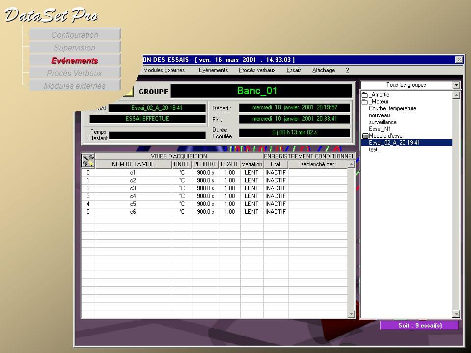 Les événements Modules externes Procès Verbaux Evénements Supervision DataSet Pro Configuration