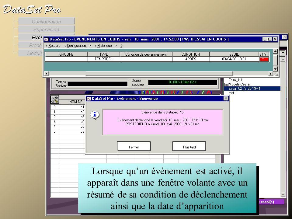 Modules externes Procès Verbaux Evénements Supervision DataSet Pro Configuration Lorsque quun événement est activé, il apparaît dans une fenêtre volan