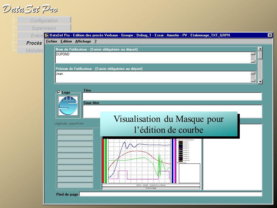 Modules externes Procès Verbaux Evénements Supervision DataSet Pro Configuration Visualisation du Masque pour lédition de courbe Lédition des procès v