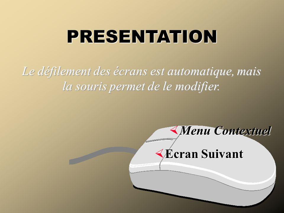Ecran Suivant Ecran Suivant PRESENTATION Le défilement des écrans est automatique, mais la souris permet de le modifier. Menu Contextuel Menu Contextu