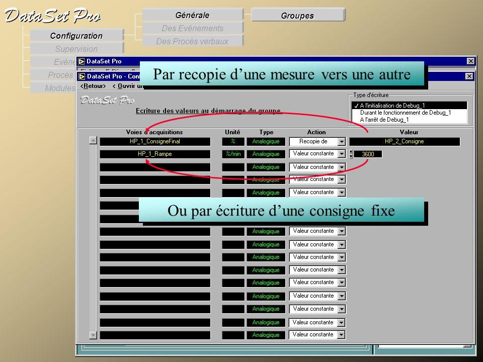 Modules externes Procès Verbaux Evénements Supervision DataSet Pro Configuration Des Procès verbaux Des Evénements Générale Groupes Par recopie dune m