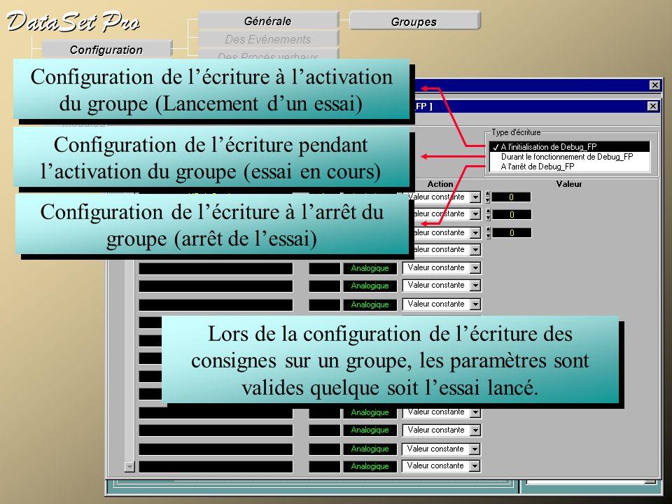Modules externes Procès Verbaux Evénements Supervision DataSet Pro Configuration Des Procès verbaux Des Evénements Générale Groupes Configuration de l