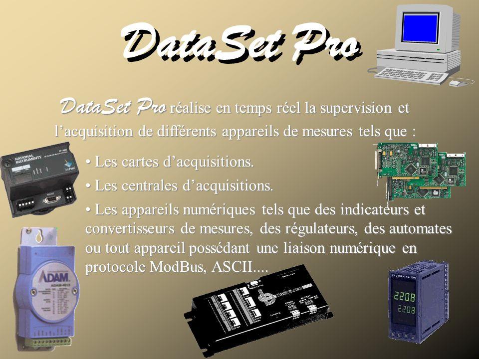 DataSet Pro DataSet Pro réalise en temps réel la supervision et lacquisition de différents appareils de mesures tels que : Les cartes dacquisitions. L