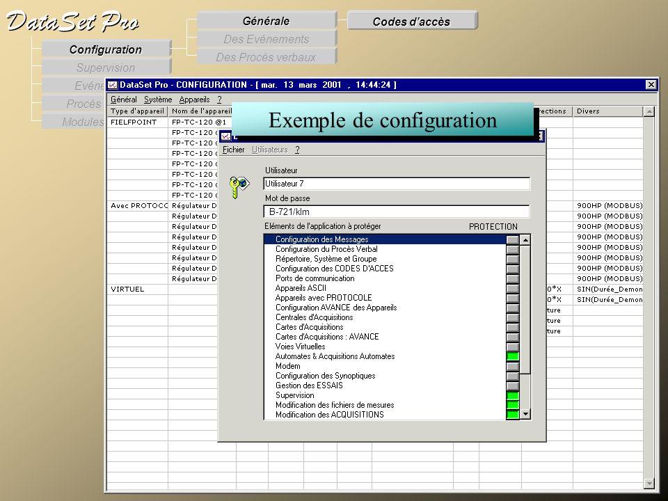 Modules externes Procès Verbaux Evénements Supervision DataSet Pro Configuration Des Procès verbaux Des Evénements Générale Codes daccès Exemple de co
