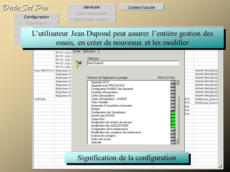Modules externes Procès Verbaux Evénements Supervision DataSet Pro Configuration Des Procès verbaux Des Evénements Générale Codes daccès Signification