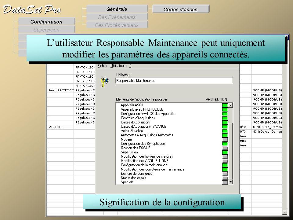 Modules externes Procès Verbaux Evénements Supervision DataSet Pro Configuration Des Procès verbaux Des Evénements Générale Codes daccès Lutilisateur