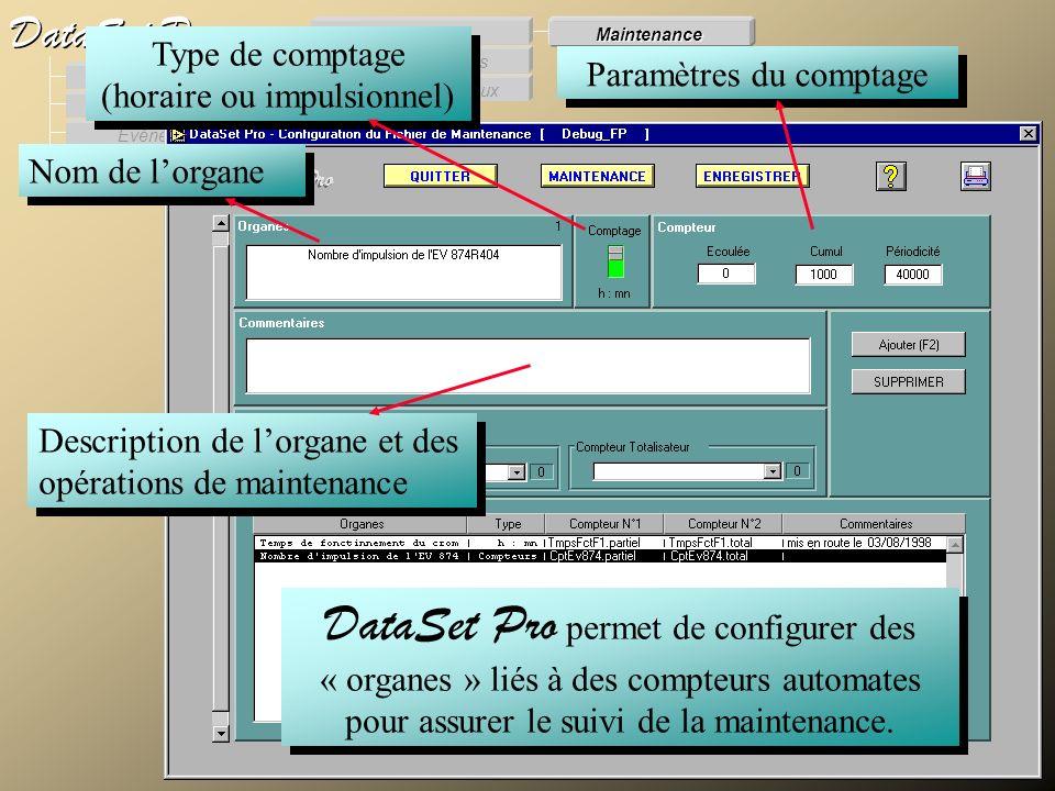 Modules externes Procès Verbaux Evénements Supervision DataSet Pro Configuration Des Procès verbaux Des Evénements Générale Maintenance DataSet Pro pe