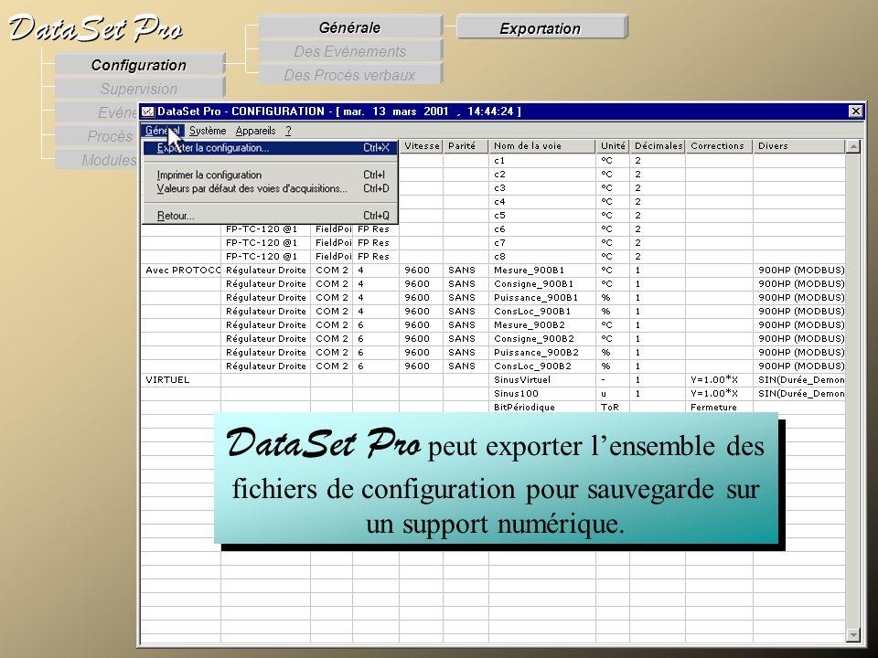 Modules externes Procès Verbaux Evénements Supervision DataSet Pro Configuration Des Procès verbaux Des Evénements Générale Exportation DataSet Pro pe