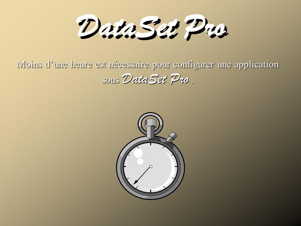 DataSet Pro Moins dune heure est nécessaire pour configurer une application sous DataSet Pro. Temps dinstallation