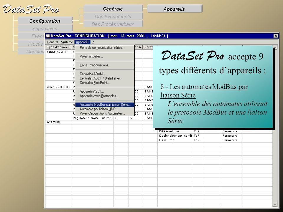 Modules externes Procès Verbaux Evénements Supervision DataSet Pro Configuration Des Procès verbaux Des Evénements Générale Appareils DataSet Pro acce