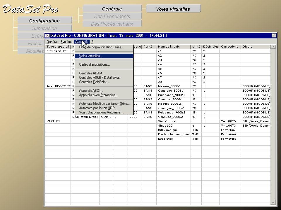 Modules externes Procès Verbaux Evénements Supervision DataSet Pro Configuration Des Procès verbaux Des Evénements Générale Voies virtuelles Voies Vir