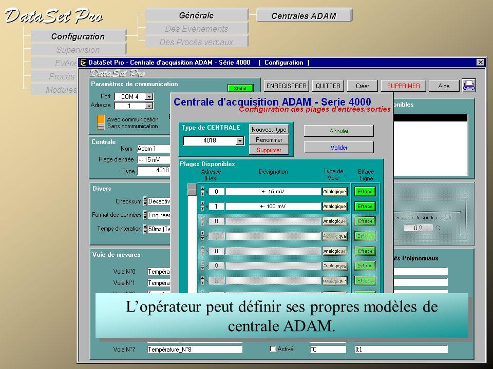 Modules externes Procès Verbaux Evénements Supervision DataSet Pro Configuration Des Procès verbaux Des Evénements Générale Centrales ADAM Lopérateur
