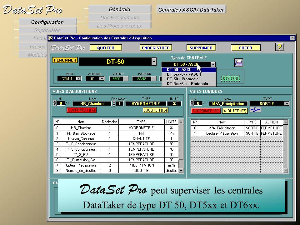 Modules externes Procès Verbaux Evénements Supervision DataSet Pro Configuration Des Procès verbaux Des Evénements Générale Centrales ASCII / DataTake