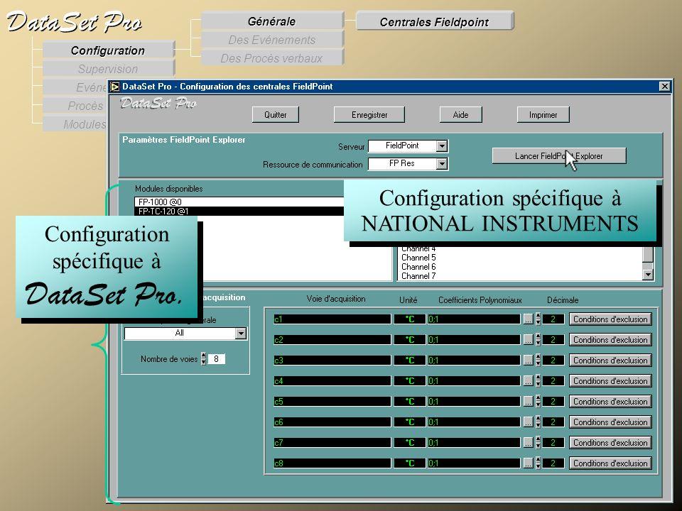Modules externes Procès Verbaux Evénements Supervision DataSet Pro Configuration Des Procès verbaux Des Evénements Générale Centrales Fieldpoint Confi