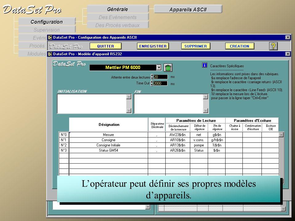 Modules externes Procès Verbaux Evénements Supervision DataSet Pro Configuration Des Procès verbaux Des Evénements Générale Appareils ASCII Lopérateur