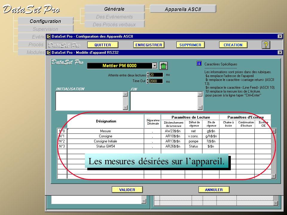 Modules externes Procès Verbaux Evénements Supervision DataSet Pro Configuration Des Procès verbaux Des Evénements Générale Appareils ASCII Les mesure