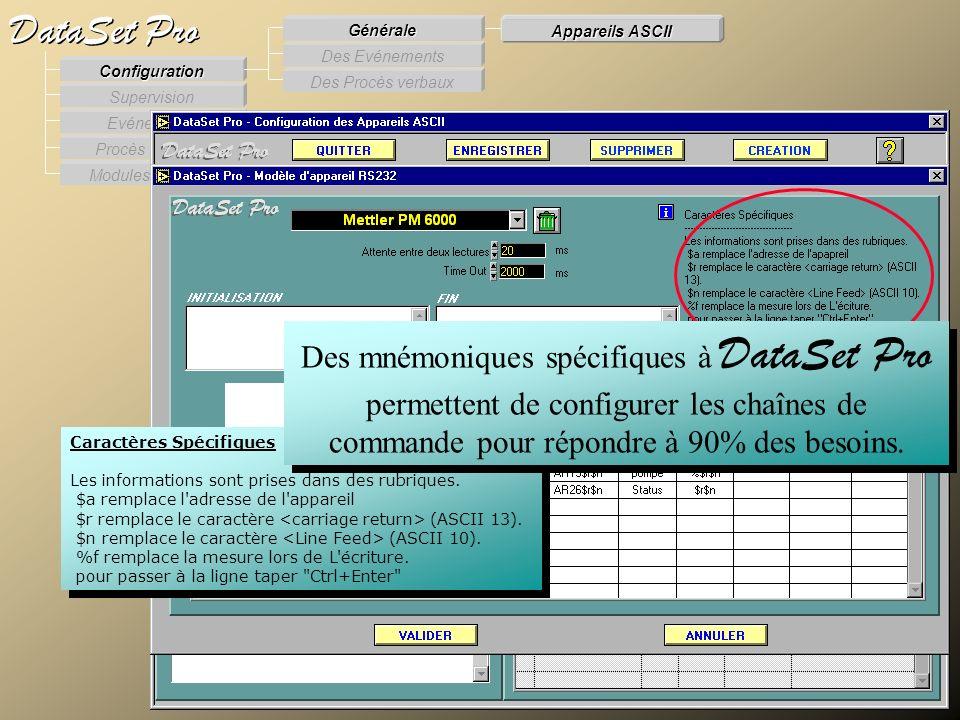 Modules externes Procès Verbaux Evénements Supervision DataSet Pro Configuration Des Procès verbaux Des Evénements Générale Appareils ASCII Caractères