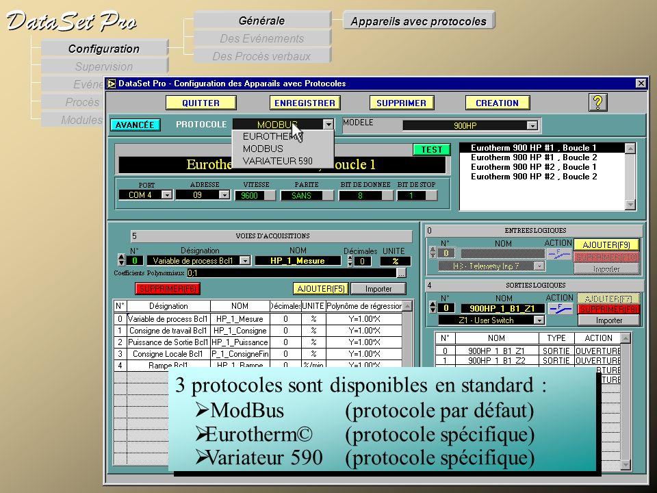 Modules externes Procès Verbaux Evénements Supervision DataSet Pro Configuration Des Procès verbaux Des Evénements Générale Appareils avec protocoles