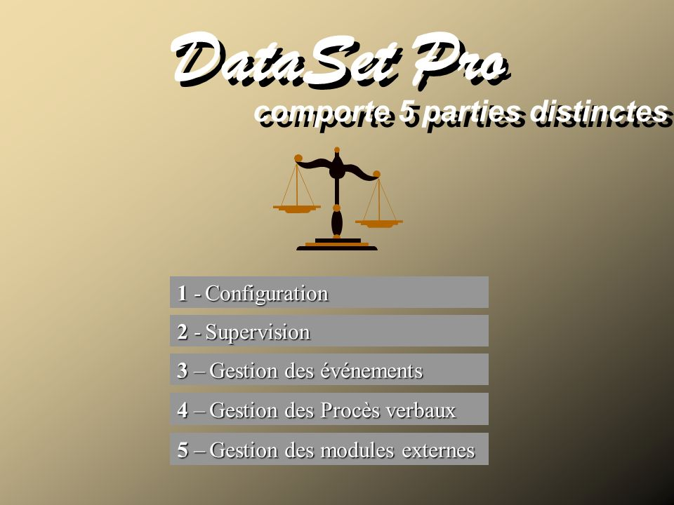 comporte 5 parties distinctes DataSet Pro 1 - Configuration 1 - Configuration 2 - Supervision 2 - Supervision 3 – Gestion des événements 3 – Gestion d