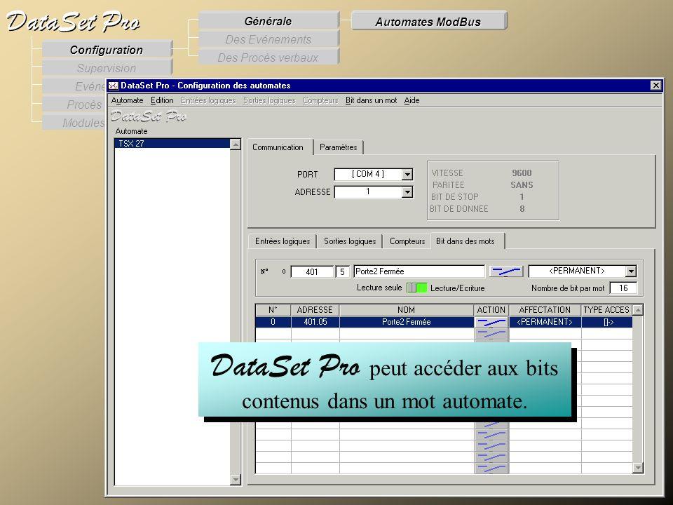 Modules externes Procès Verbaux Evénements Supervision DataSet Pro Configuration Des Procès verbaux Des Evénements Générale Automates ModBus DataSet P