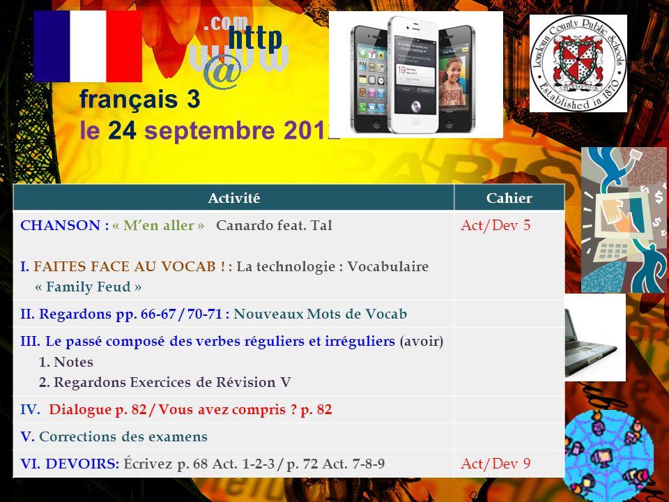 Annonces Importantes! 1. MATIÈRES NÉCESSAIRES: –Les avez-vous?! 2. LE CLUB FRANÇAIS 2012-2013 –Dues before Friday, September 21 to M. DiNicola ($28 pa