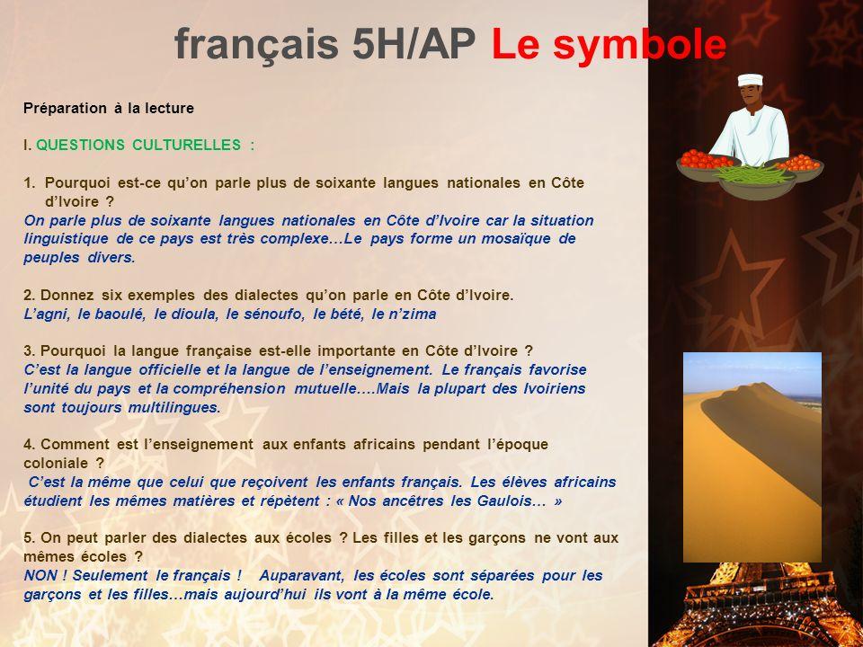 français 5H/AP: Le symbole Bernard Dadié 1. Il vient de la ________________________, né à la ville Assinie. 2. Il travaille plusieurs années à _______