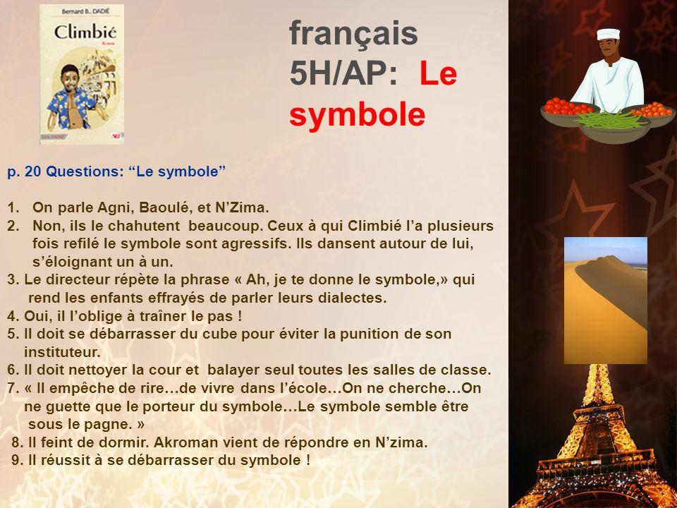 français 5H/AP: Le symbole II. « Le symbole » -- Plus de détails 1. « Le symbole » est un extrait de ________________ (1956), un roman autobiographiqu