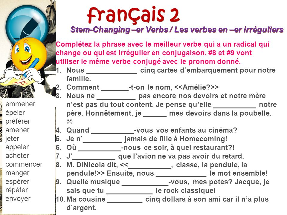 français 2 le 21 septembre 2012 ActivitéCahier CHANSON : « Men aller » I. Petites Conversations : Les habits / les couleurs / la possession Les verbes