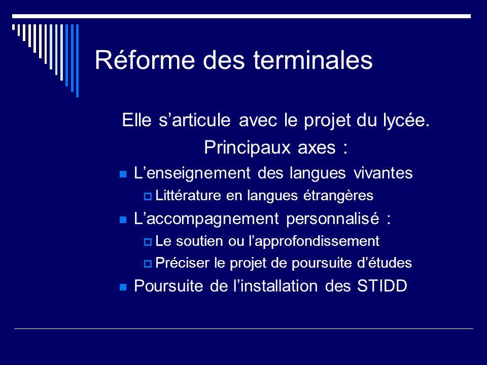Réforme des terminales Elle sarticule avec le projet du lycée. Principaux axes : Lenseignement des langues vivantes Littérature en langues étrangères