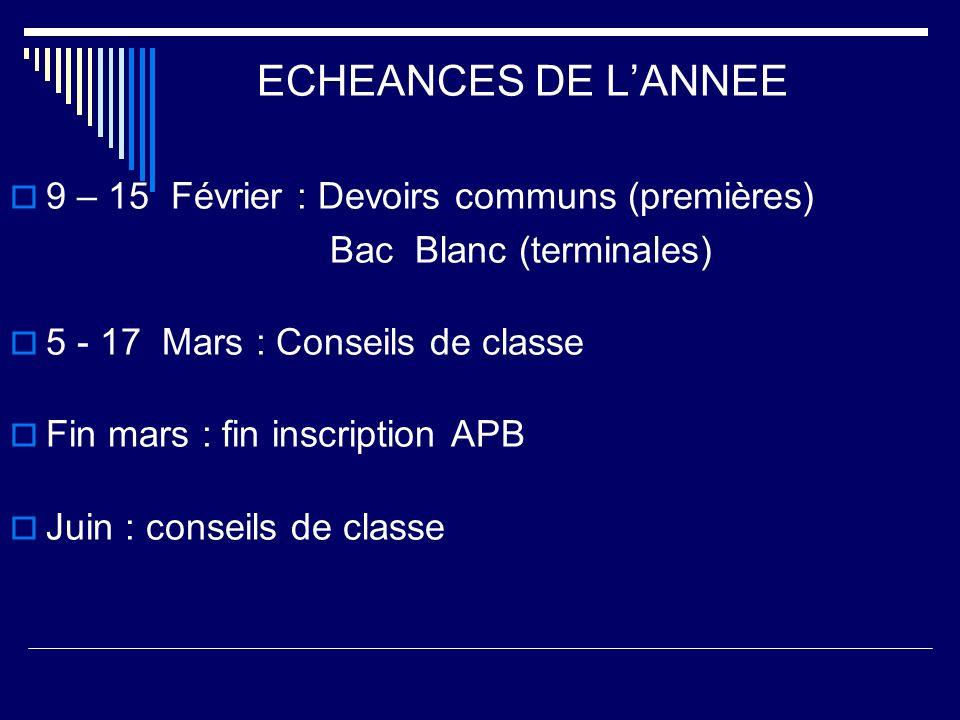 ECHEANCES DE LANNEE 9 – 15 Février : Devoirs communs (premières) Bac Blanc (terminales) 5 - 17 Mars : Conseils de classe Fin mars : fin inscription AP