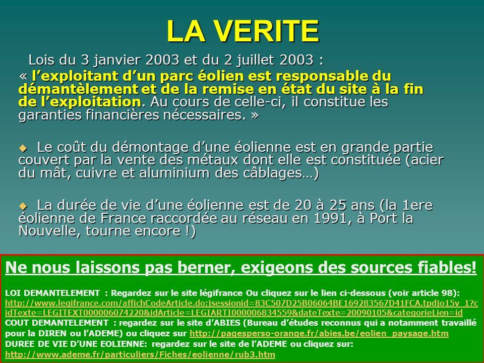 Lois du 3 janvier 2003 et du 2 juillet 2003 : Lois du 3 janvier 2003 et du 2 juillet 2003 : « lexploitant dun parc éolien est responsable du démantèle
