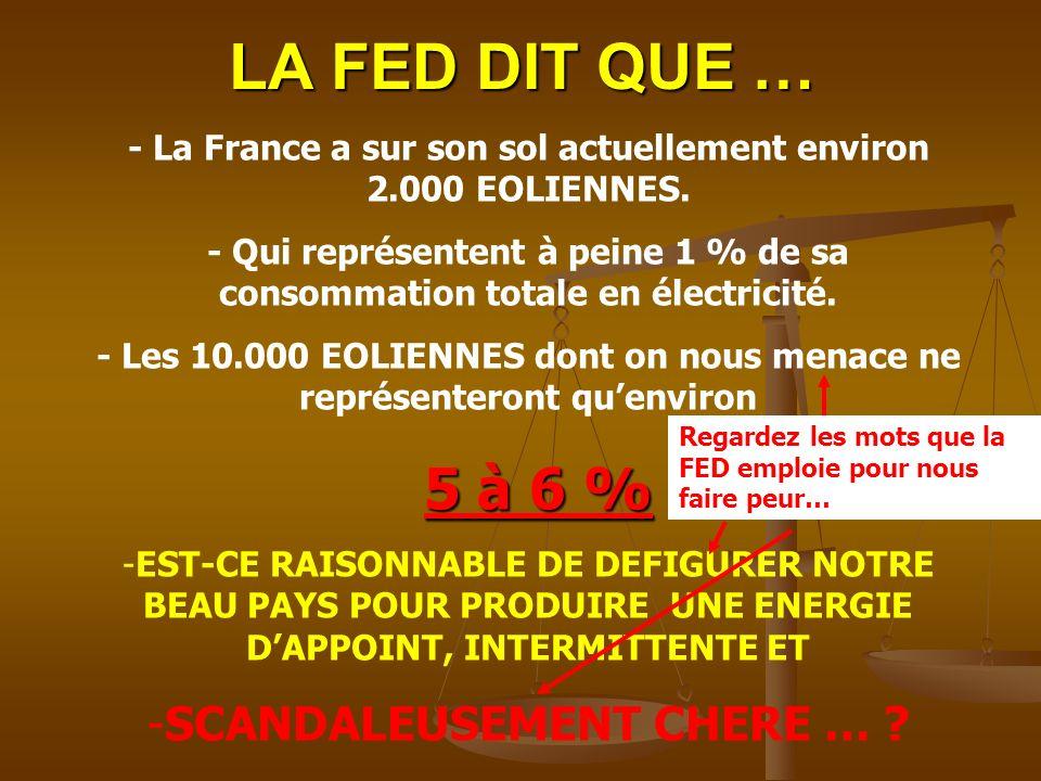 LA FED DIT QUE … - La France a sur son sol actuellement environ 2.000 EOLIENNES. - Qui représentent à peine 1 % de sa consommation totale en électrici