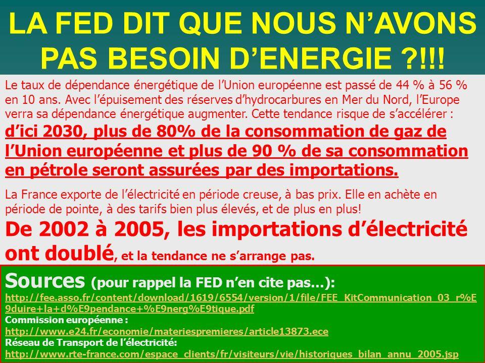 Le taux de dépendance énergétique de lUnion européenne est passé de 44 % à 56 % en 10 ans. Avec lépuisement des réserves dhydrocarbures en Mer du Nord