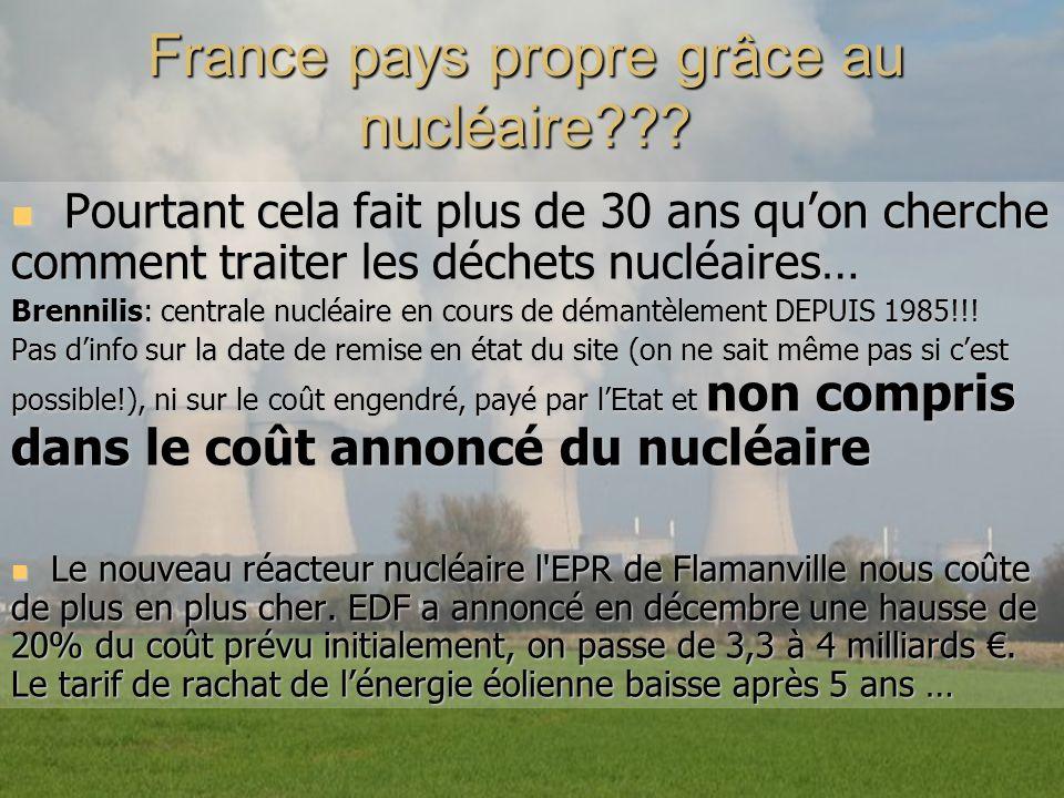 France pays propre grâce au nucléaire??? Pourtant cela fait plus de 30 ans quon cherche comment traiter les déchets nucléaires… Pourtant cela fait plu