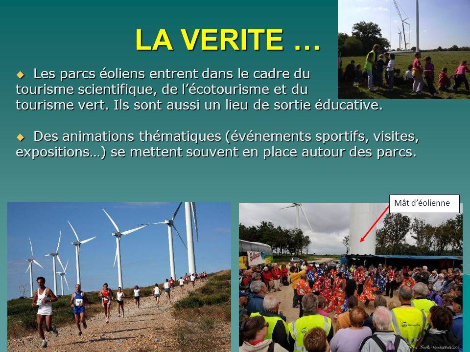 Les parcs éoliens entrent dans le cadre du Les parcs éoliens entrent dans le cadre du tourisme scientifique, de lécotourisme et du tourisme vert. Ils