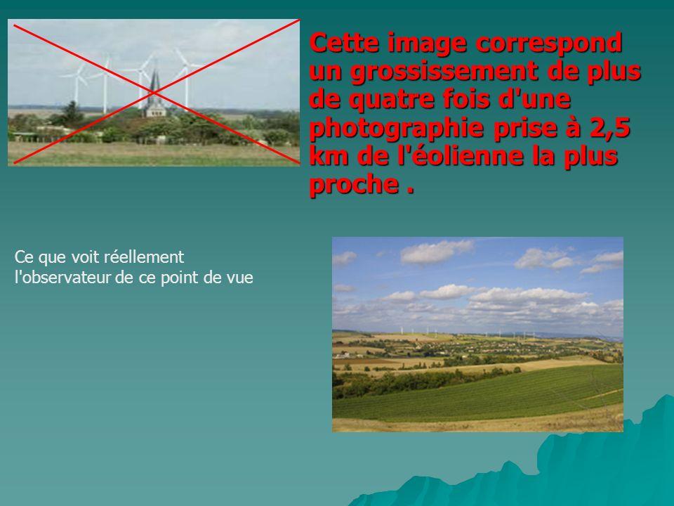 Cette image correspond un grossissement de plus de quatre fois d'une photographie prise à 2,5 km de l'éolienne la plus proche. Ce que voit réellement