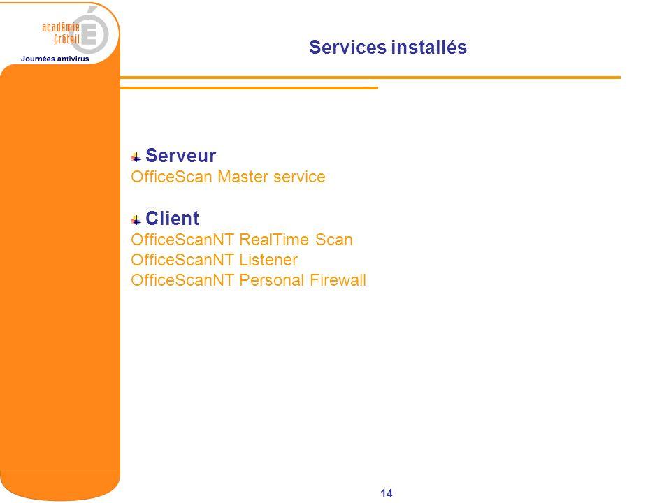 14 Serveur OfficeScan Master service Client OfficeScanNT RealTime Scan OfficeScanNT Listener OfficeScanNT Personal Firewall Services installés