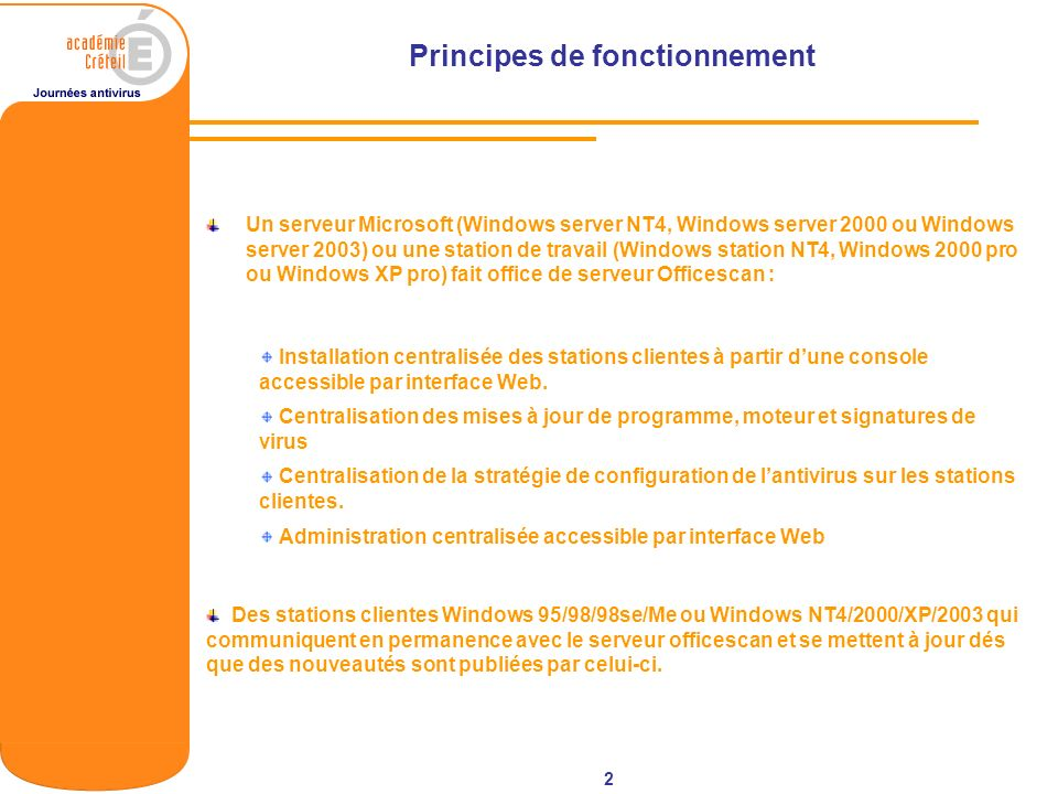 2 Principes de fonctionnement Un serveur Microsoft (Windows server NT4, Windows server 2000 ou Windows server 2003) ou une station de travail (Windows