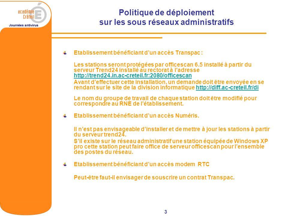 3 Politique de déploiement sur les sous réseaux administratifs Etablissement bénéficiant dun accès Transpac : Les stations seront protégées par office