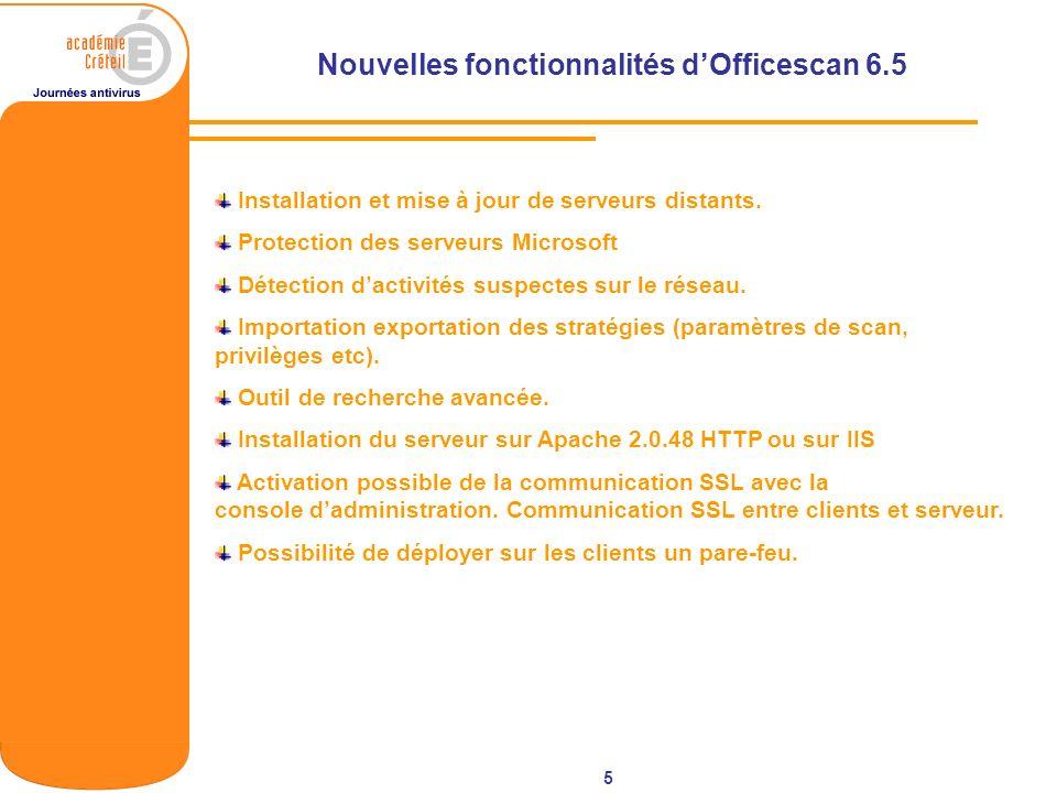 5 Nouvelles fonctionnalités dOfficescan 6.5 Installation et mise à jour de serveurs distants. Protection des serveurs Microsoft Détection dactivités s