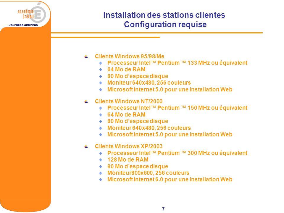 7 Installation des stations clientes Configuration requise Clients Windows 95/98/Me Processeur Intel Pentium 133 MHz ou équivalent 64 Mo de RAM 80 Mo