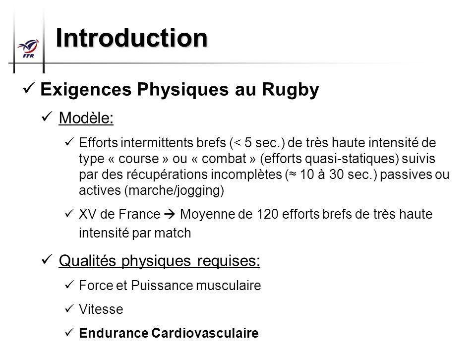 Préparation Physique Arbitres Top 14 – Pro D2 Introduction Exigences Physiques au Rugby Modèle: Efforts intermittents brefs (< 5 sec.) de très haute i