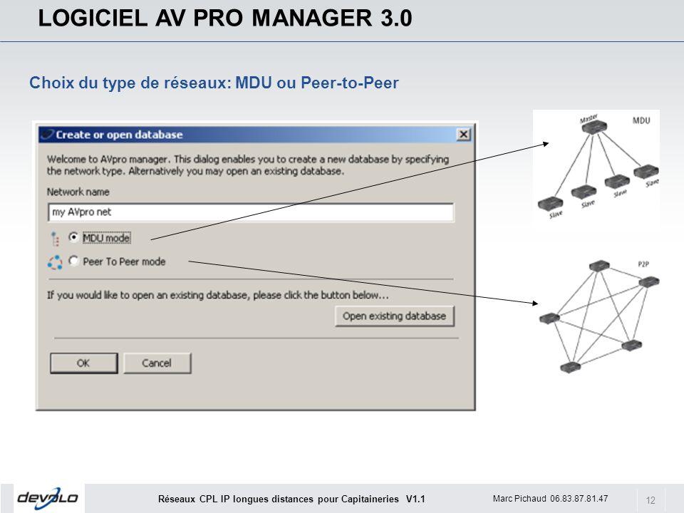 12 Marc Pichaud 06.83.87.81.47 Réseaux CPL IP longues distances pour Capitaineries V1.1 LOGICIEL AV PRO MANAGER 3.0 Choix du type de réseaux: MDU ou Peer-to-Peer